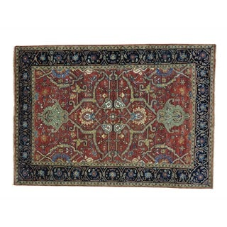 Pure Wool Antiqued Heriz Hand-knotted Oriental Rug (5'3 x 7'4)