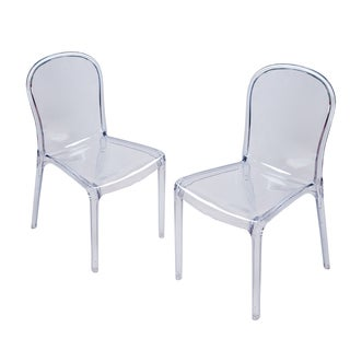 Adeco Polycarbonate Molded Structure Dining Chair (Set of 2)