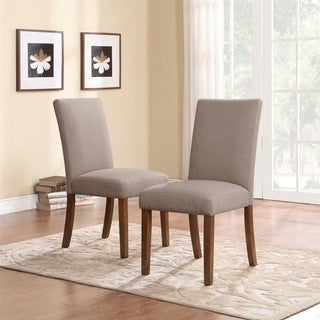 Dorel Living Taupe Linen Parsons Chairs (Set of 2)