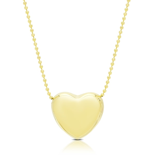 Dolce Giavonna Gold Over Silver or Sterling Silver Heart Necklace. Opens flyout.