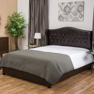 Alford Wingback Upholstered Bonded Leather California King Bed Set by Christopher Knight Home