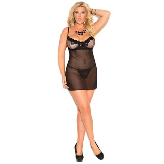 Elegant Moments Plus Size embroidered mesh babydoll and g-string (4 options available)