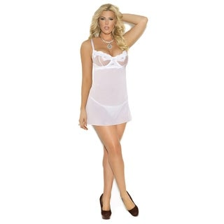 Elegant Moments Women's Plus Size Embroidered Black/ White Mesh Babydoll