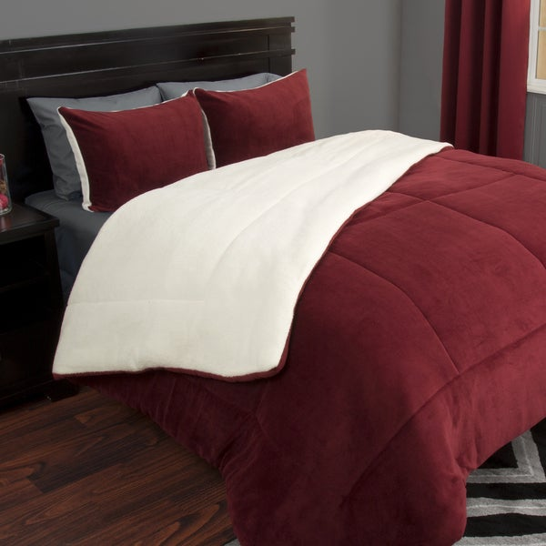 Windsor Home 3 Piece Sherpa/Fleece Comforter Set   King   Burgundy by Windsor Home