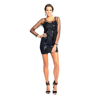 Sara Boo Women's Black Sequined Mesh Dress