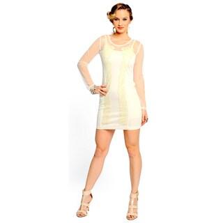 Sara Boo Women's Off-White Sequined Mesh Dress