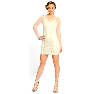 Sara Boo Women's Off-White Sequined Mesh Dress