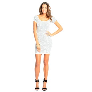 Sara Boo Women's White Graphic Print Bodycon Dress