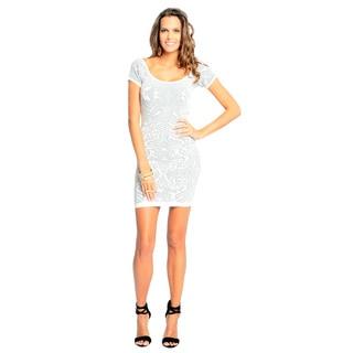 Sara Boo Women's White Graphic Print Bodycon Dress