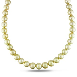 Miadora Signature Collection 14k Yellow Gold Cultured South Sea Gold Pearl and Diamond Accent Strand Necklace (11-13.5 mm)