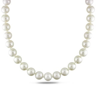 Miadora Signature Collection 14k White Gold Cultured South Sea White Pearl and Diamond Accent Strand Necklace (13-15 mm)