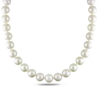 Miadora Signature Collection 14k White Gold Cultured South Sea White Pearl and Diamond Accent Strand Necklace (13-15 mm)|https://ak1.ostkcdn.com/images/products/11198495/P18188364.jpg?impolicy=medium