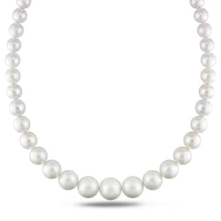 Miadora Signature Collection 14k White Gold Cultured South Sea White Pearl and Diamond Accent Strand Necklace (10-16 mm)|https://ak1.ostkcdn.com/images/products/11198496/P18188365.jpg?impolicy=medium