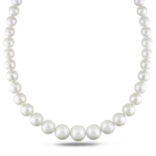 Miadora Signature Collection 14k White Gold Cultured South Sea White Pearl and Diamond Accent Strand Necklace (10-16 mm)