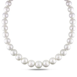 Miadora Signature Collection 14k White Gold Cultured South Sea White Pearl and Diamond Accent Strand Necklace (11 - 15.6mm)