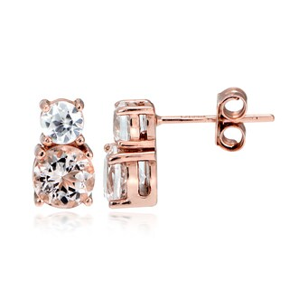 Glitzy Rocks 18k Rose Gold over Silver Morganite and White Topaz Stud Earrings