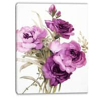 Designart 'Bunch of Pink and Purple Flowers' Floral Canvas Art Print