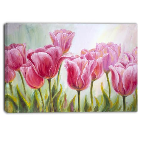 Designart - Tulips in a Row - Floral Canvas Artwork Print - Pink