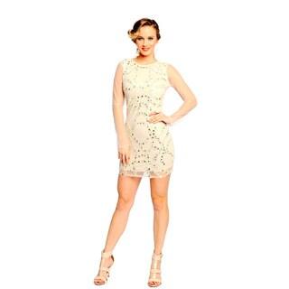 Sara Boo Women's Off-White Sequined Sheer Mesh Dress