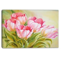Designart - Bunch of Tulips Oil Painting - Floral Canvas Print - Pink