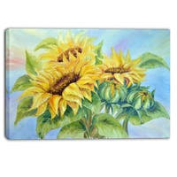 Designart - Three Sunflowers - Floral Canvas Art Print - YELLOW