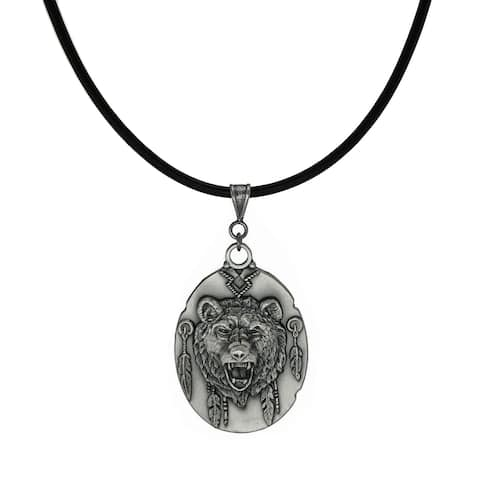 Handmade Jewelry by Dawn Unisex Pewter Bear Head Leather Cord Necklace (USA)