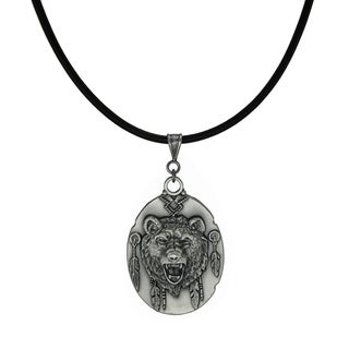 Jewelry by Dawn Unisex Pewter Bear Head Greek Leather Cord Necklace