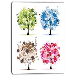 Designart - Set of Floral Trees - Floral Canvas Art Print
