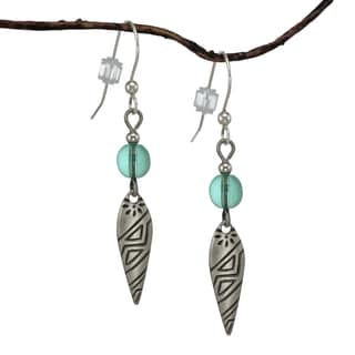 Jewelry by Dawn Aqua Antique Silver Colored Patterned Drop Earrings