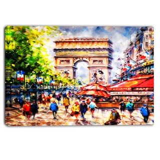 Designart - Arc d' Triomphe Paris - Cityscape Canvas Print