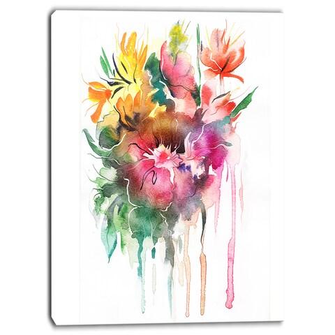 Designart - Watercolor Floral Illustration - Floral Canvas Art Print - Green