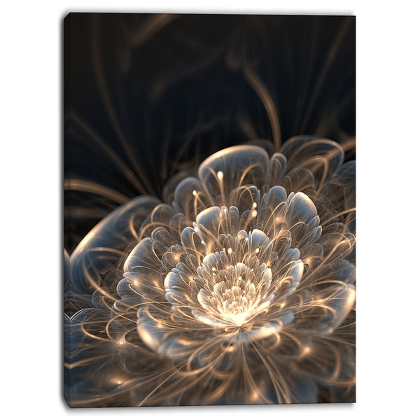 Designart Fractal Flower With Golden Rays Floral Canvas Art Print Free Shipping Today Overstock Com 18188486