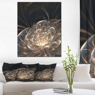 Designart - Fractal Flower with Golden Rays - Floral Canvas Art Print - Gold