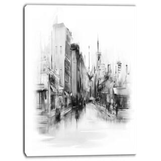 Designart - Black and White City - Cityscape Canvas Art