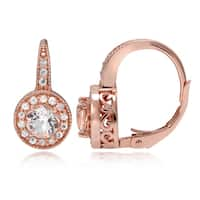 Glitzy Rocks 18k Rose Gold over Silver Morganite and White Topaz Leverback Earrings