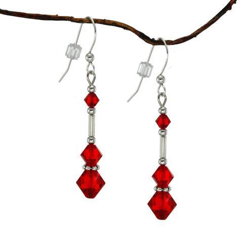 Handmade Jewelry by Dawn Long Red Austrian Crystal Silver Glass Earrings (USA)