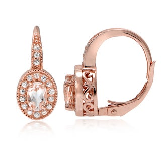 Glitzy Rocks 18k Rose Gold over Silver Morganite and White Topaz Oval Leverback Earrings