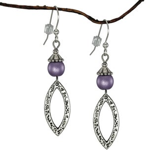 Jewelry by Dawn Purple Antique Pewter Marquis Dangle Earrings