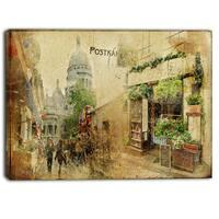 Designart - Vintage Parisian Cards - Contemporary Canvas Art Print - Brown
