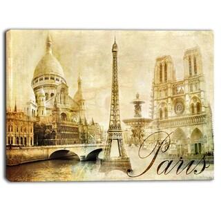 Designart - Old Beautiful Paris - Cityscape Digital Canvas Art Print - Brown