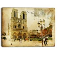 Designart - Notre Dame Cathedral Vintage Card - Contemporary Canvas Art Print - Green