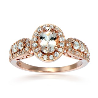 Glitzy Rocks 18k Rose Gold over Silver Morganite and White Topaz Oval Ring