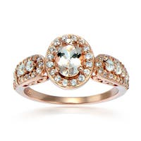 Glitzy Rocks 18k Rose Gold over Silver Morganite and White Topaz Oval Ring