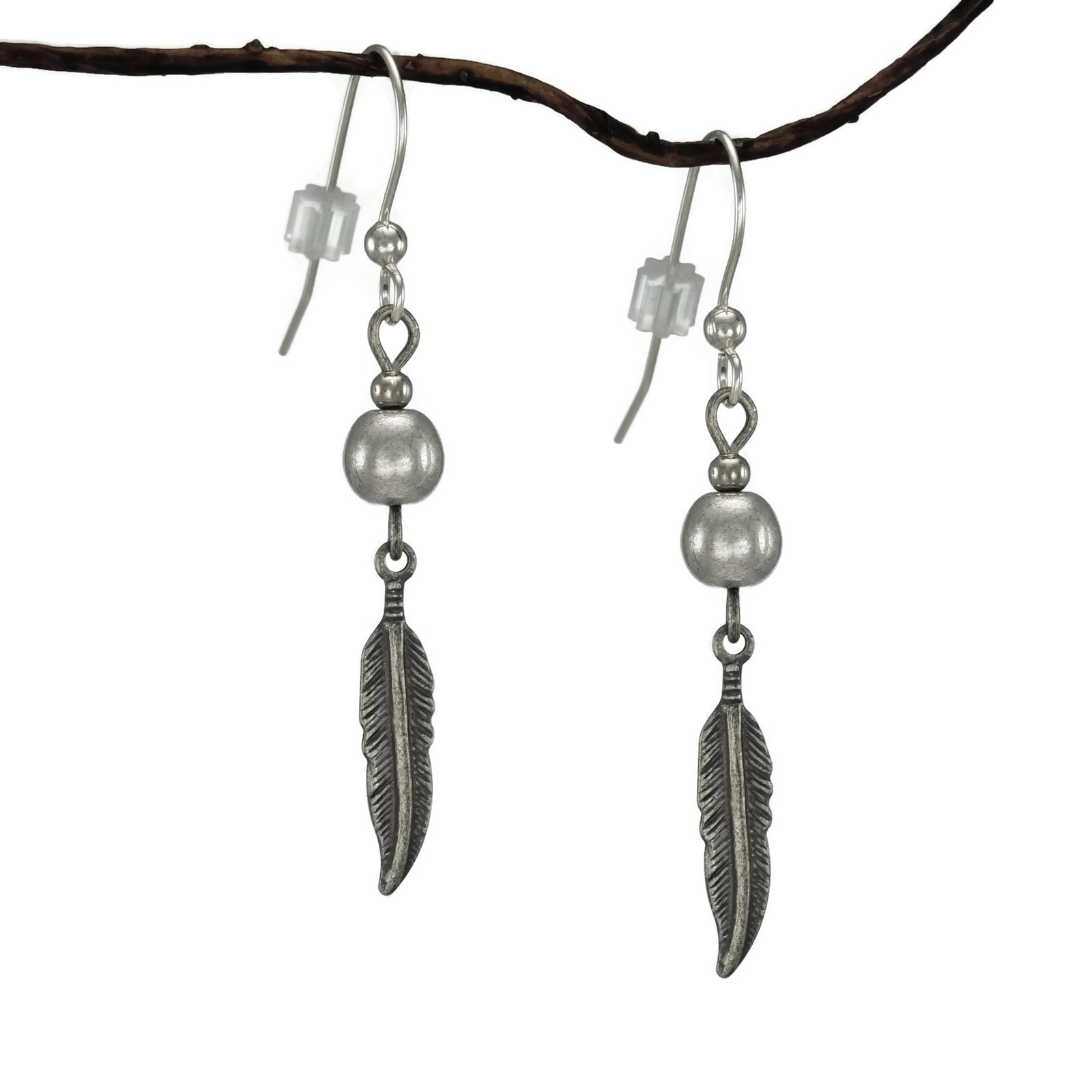 Jewelry by Dawn Silver Antique Pewter Feather Earrings (A...