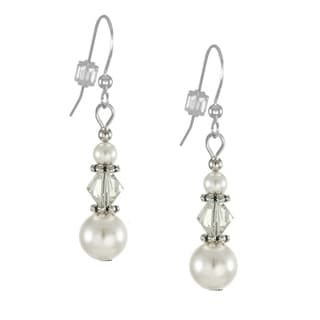 Jewelry by Dawn Triple Bead and White Crystal Pearl Dangle Earrings
