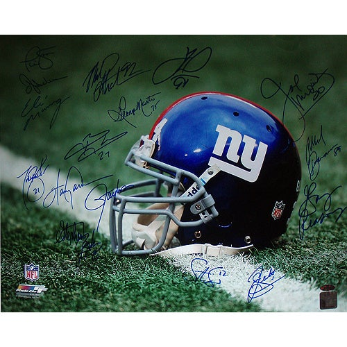 "NY Giants Greats Multi Signed ""Helmet"" 16x20 Photo (16 Sig)"