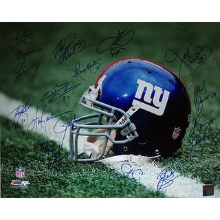 """NY Giants Greats Multi Signed """"Helmet"""" 16x20 Photo (16 Sig)"""