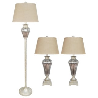 Metal & Glass Lamp 3 Pc Set in Antique Silver