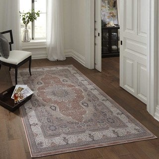 Machine Made Antiquity Dynamic Medallion Rayon from Bamboo Rug (3'11 x 5'7)