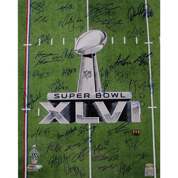 New York Giants Team Signed 16x20 Super Bowl XLVI 2011 Trophy Champions Photo #2